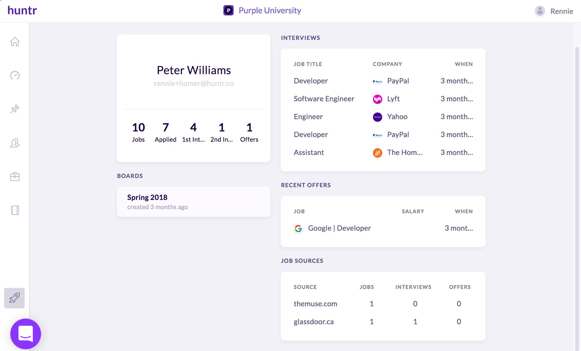 huntr job application tracker for career advisors